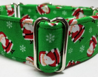 Mini Santas on Green Greyhound, Whippet, Galgo, Pit Bull, Dog, Sighthound Martingale Collar