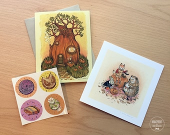 Festive Fall Pack - 3 Piece set: Print, Greeting Card, Stickers