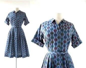 20% off sale Vintage 1950s Dress | Gyroscope | Novelty Print Dress | 50s Dress | XS