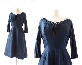 20% off sale Vintage 60s Dress | Marienbad | Navy Blue Silk Dress | 1960s Dress | XS S