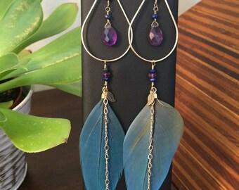 Cruelty Free Macaw Feather Chandelier 12k gold fill Amethyst Earrings