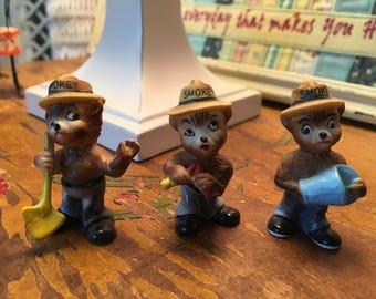 3 Smokey Bear Bone China Figures