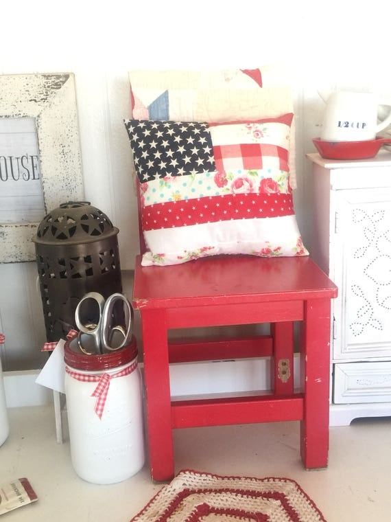 """Americana Cottage Flag Pillow- Real Size 8"""" x 9"""""""