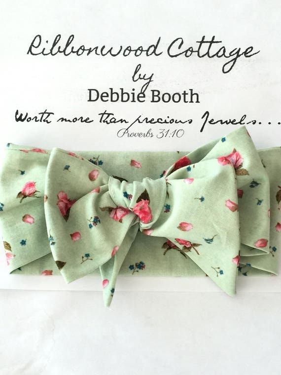 Newborn Headwrap Headband - Pale Green and Pink Roses Design