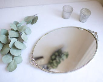 "11 x 17"" Vintage gold oval vanity with floral detail handles. Blank or hand painted menu, dessert, cocktails, instagram, gifts/cards"