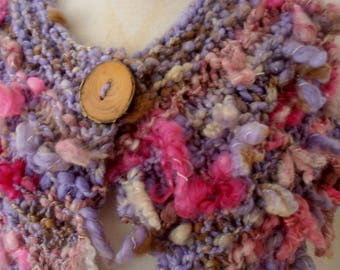 sale Scarf, mini wrap,  Collar, Hand Spun Hand Knit Scarf, mauve pinks, merino, alpaca silk mix