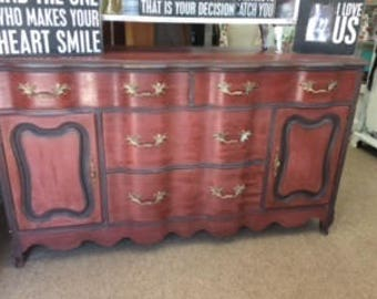 French Provincial Sideboard...  Dresser....  TV Stand ...  in RED !