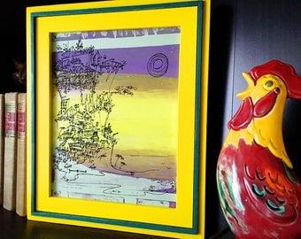 CLIFFHANGER #24 colorful summer beach print in purple, yellow, green (8x10)