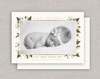 Baby Girl Birth Announcement - Ellie