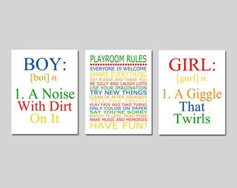 Playroom Decor Playroom Wall Art Playroom Rules Sign Playroom Art Girl and Boy Set of 3 Playroom Prints Kids Wall Art - CHOOSE YOUR COLORS