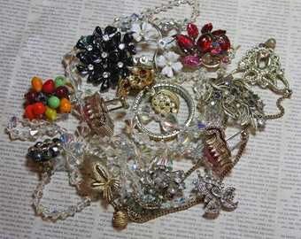 Vintage Huge JUNK JEWELRY Lot Necklaces- Craft Supply- Antique Jewelry Lot-Repurposing- Repair- Kid's Crafts Aurora Borealis Beads