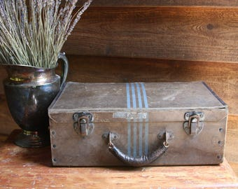 Vintage SUITCASE- Travel Case Storage Craft Show Display- Luggage- Train Case Striped Brown and Gray Tones- Leather Handle- Photo Prop