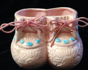 Newborn Gift vintage planter VASE baby BOOTIES with real SHOELACES nursery girl or boy