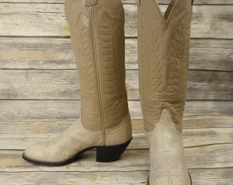 Womens 8 A Cowboy Boots Tony Lama Tall Western Cowgirl Narrow White Taupe Shoes