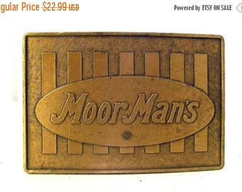 Vintage MoorMans Feed Belt Buckle Cow Cattle Grain Farm Ranch Rancher Ag Western wear