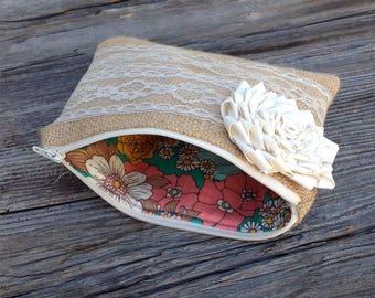 Bridesmaid Clutch, Bridesmaid Gift Ideas, Burlap Lace Wedding, Custom Clutch, Ivory Wedding Bag, Bridal Party, Maid of Honor Gift, Bride Bag