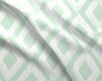 Mint Diamonds Fabric - Scribble Mint-01 By Graceandcruzdesigns - Mint and White Modern Home Decor Cotton Fabric By The Yard With Spoonflower