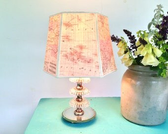 """Map Lampshade, Small Lamp Shade, Vintage School Atlas, Library Decor, 6""""t x 8""""b x 6"""" high clip on shade, Dates 1860's, Authentic Look"""