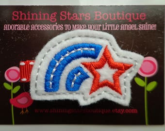 Toddler Hair Accessories - Felt Hair Clips - Red, White, And Blue Patriotic Rainbow With A Star Embroidered Felt Hair Clippie For Girls