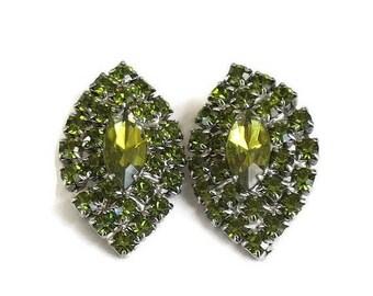 Olivine Rhinestone Earrings Vintage Olive Green