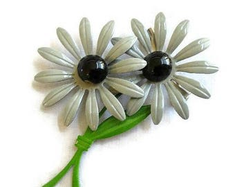 SALE Double Flower Power Brooch Vintage Gray, Black and Green Enamel Retro Metal
