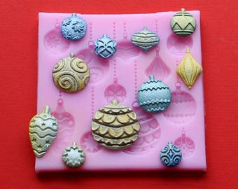Silicone Mold Christmas Ornament Fondant Polymer Clay DIY Clay Jewelry Soap Embed Mold Chocolate Mold Emboss Cutter Sugarcraft DIY