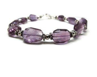 Amethyst Bracelet - Sterling Silver Bracelet - Purple Gemstone Bracelet - February Birthstone Jewelry - Magnetic Clasp - Third Eye Chakra