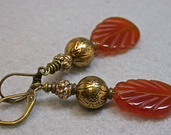 Vintage Carnelian Leaf Bead Earrings Dangle Drop ,Vintage Antiqued Etched Copper Bead, Antiqued Brass Lever Back Ear Wires