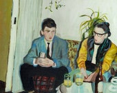 midnight drink - original painting -acrylic painting on canvas - illustration painting