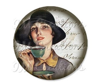 """25% OFF - Pocket Mirror, Magnet or Pinback Button - Wedding Favors, Party themes - 2.25""""- Vintage 1920s Tea Time MR436"""