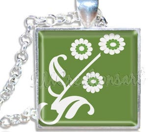 "20% OFF - Simple Flower in Moss Green 1"" Square Glass Pendant or with Necklace - SQ202"