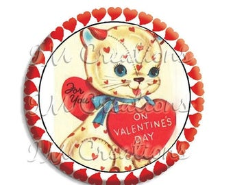 "20% OFF - Valentine's Day Cat Pocket Mirror, Magnet or Pinback Button - Favors - 2.25""-  MR491"