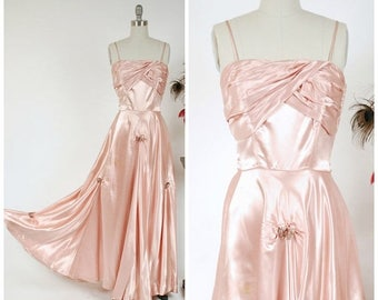 Memorial Weekend Sale - Vintage 1940s Dress - Late 40s, Early 50s Gleaming Rose Pink Satin Post War Evening Gown with Draped Skirt and Sequi