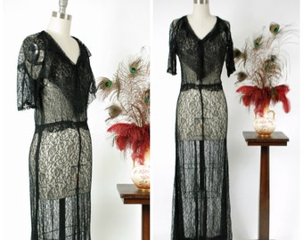 Vintage 1930s Dress - Exquisite Sheer Black Lace 30s Gown with Amazing Ruffled Collar, and Alluring Fit