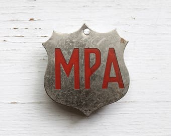 Milk Producer's Association Shield, MPA, Dairy Industry, Industrial Salvage, Metal Badges, Lettering, Assemblage Supplies, Cap Badge