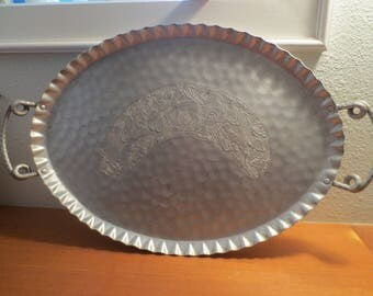 Vintage Hammered Aluminum Tray / Art Deco Design / Large Hand Wrought Cromwell / Antelope Deer Fawn / Handled Serving Tray