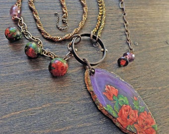 "Long statement necklace with agate slice, gold leaf, vintage roses decals- ""Unfold"""