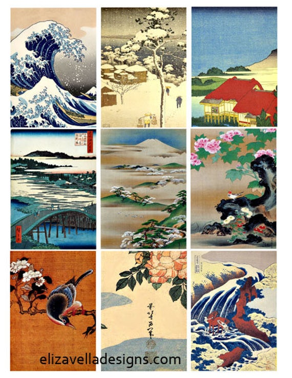 Asian Japanese Chinese clipart landscape seascape snow digital download collage sheet 2.5 x 3.5 inch graphics images crafts scrapbooking