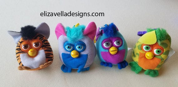 4 FURBY plush KEYCHAINS lot Backpack Clip Ons 2000 fast food stuffed plush toys collectibles