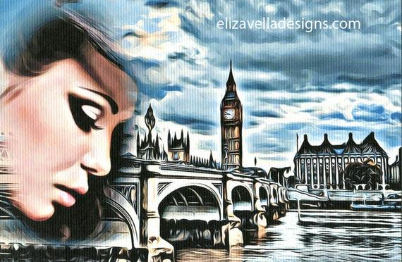"""abstract city woman art print original surreal bridge river travel 8"""" x 10"""" home living room bedroom decor"""