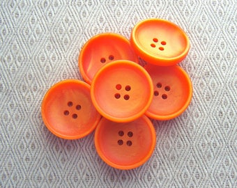 Vibrant Orange Buttons, 27mm 1-1/8 inch - Bright Tangerine Orange Sewing Buttons - 6 VTG NOS Neon Carrot Orange Sew Through Buttons PL437
