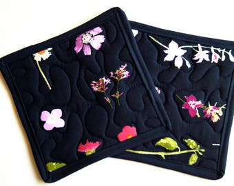 Quilted Pot Holders Set of Two in Pink and Indigo Blue Floral Fabric