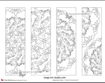 4 printable mandala coloring bookmarks 020 01halloween bookmarksbat bookmarks - Halloween Bookmarks To Color