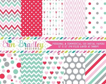 80% OFF SALE Valentines Day Digital Paper Set Pink Red Blue Gray Hearts Polka Dots Stripes Arrows Digital Paper Graphics Instant Download