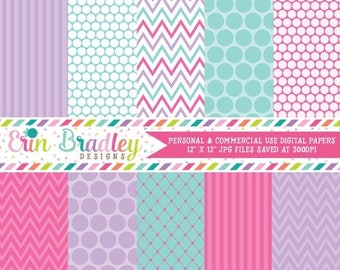 80% OFF SALE Pink Purple & Blue Digital Paper Set Polka Dots Stripes Chevron Stripes Digital Paper Pack Personal and Commercial Use