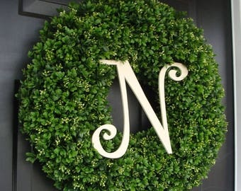 SUMMER WREATH SALE Custom Artificial Boxwood Wreath Outdoor Year Round Door Wreath Monogram Boxwood Wreath Spring Wreath Fall Wreath Christm