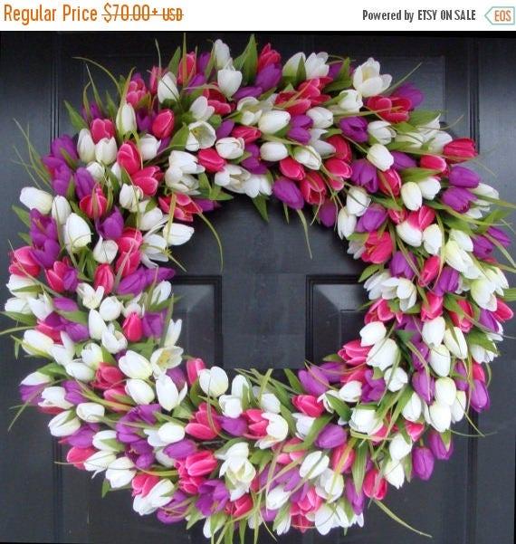SUMMER WREATH SALE Spring Wreath- Door Wreath- Spring Decor- Tulip Wreath-Outdoor Spring Wreath- Easter Decoration Front Door Wreath- Weddin