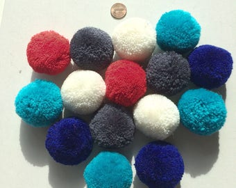 Yarn Pom Pom Set of 15, red, gray, blue, off-white, light blue, azure, crafting, balls, acrylic, balls, 2 inches