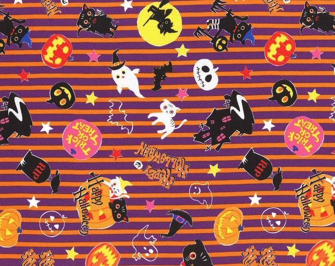 Halloween Fabric, Happy Halloween Cotton Fabric by Lecien of Japan 42 inches wide