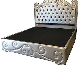king size bed bedroom furniture platform bed king size bed bedroom tufted headboard bed frame silver